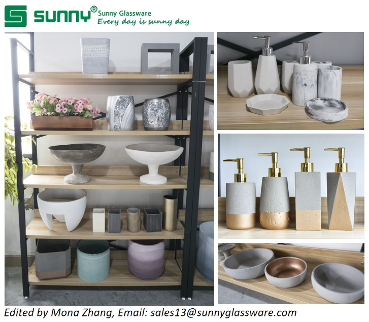 Concrete Bathroom Accessories Set Concrect Pot