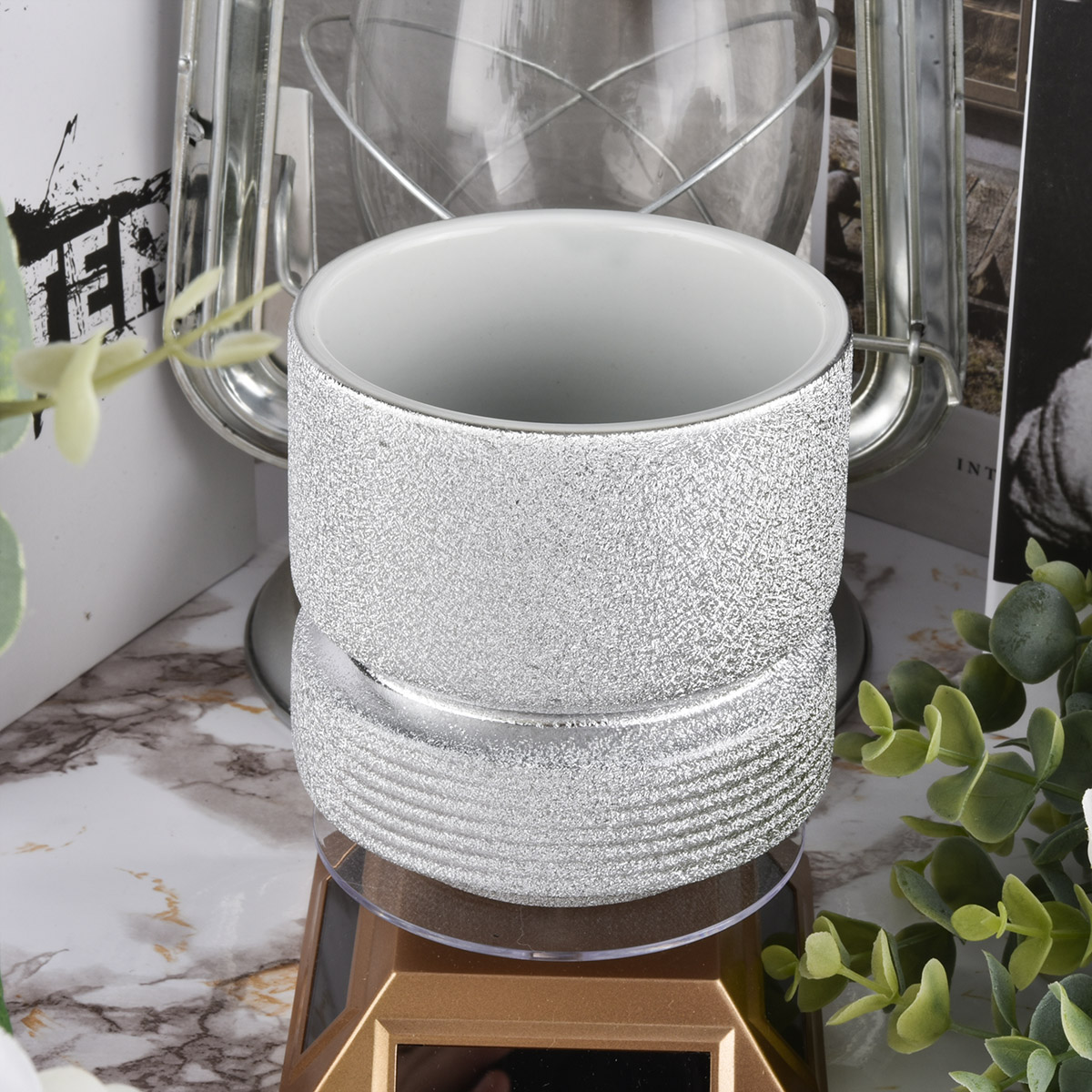 Silver Spray Ceramic Candle Holders 400ml