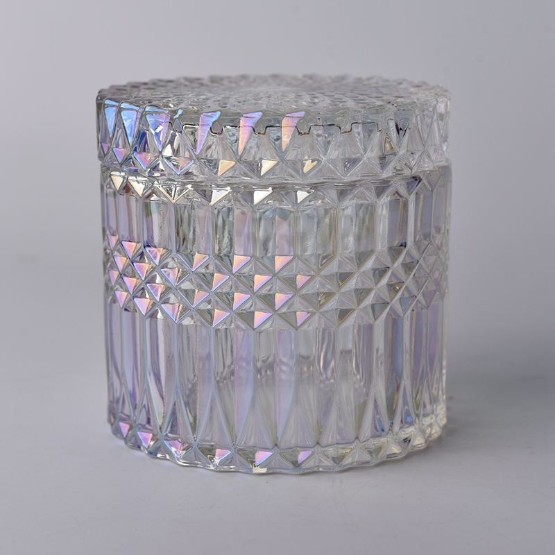 luxury glass candle jar with glass lid