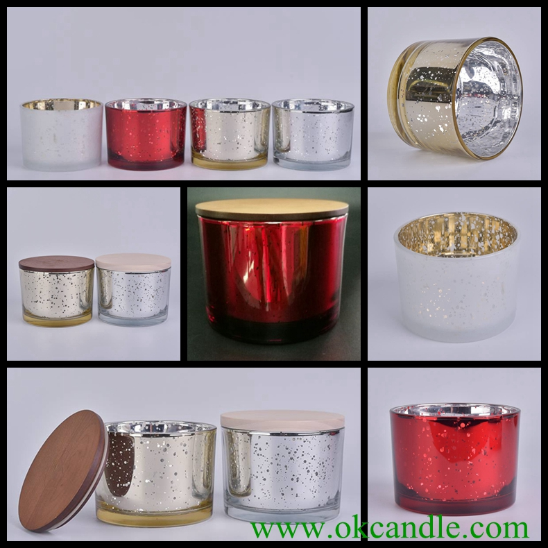 3 wich glass candle holders with lids