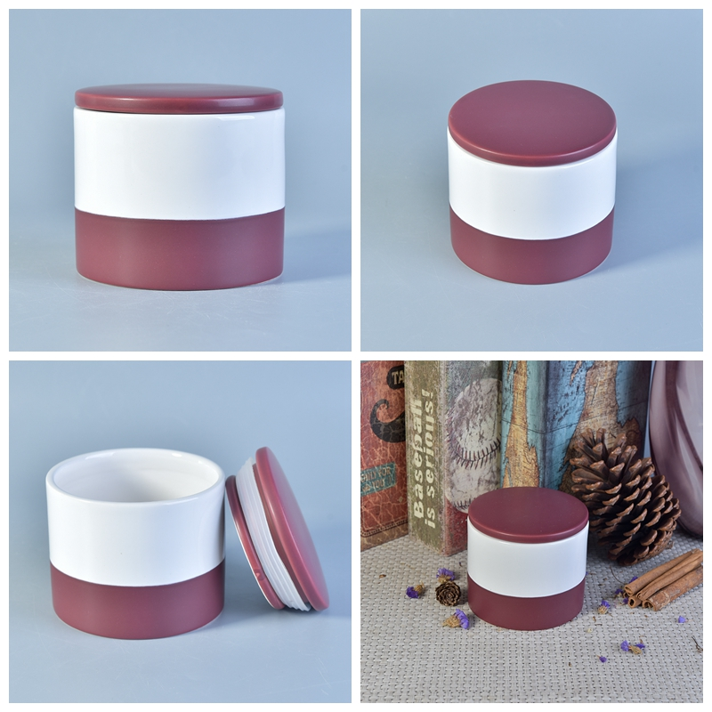 Color glazed ceramic candle jar with lid