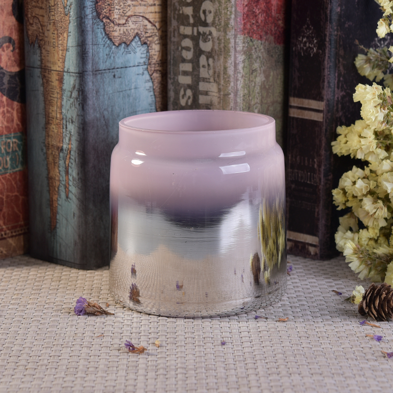 popular glass candle jar with electroplating effect
