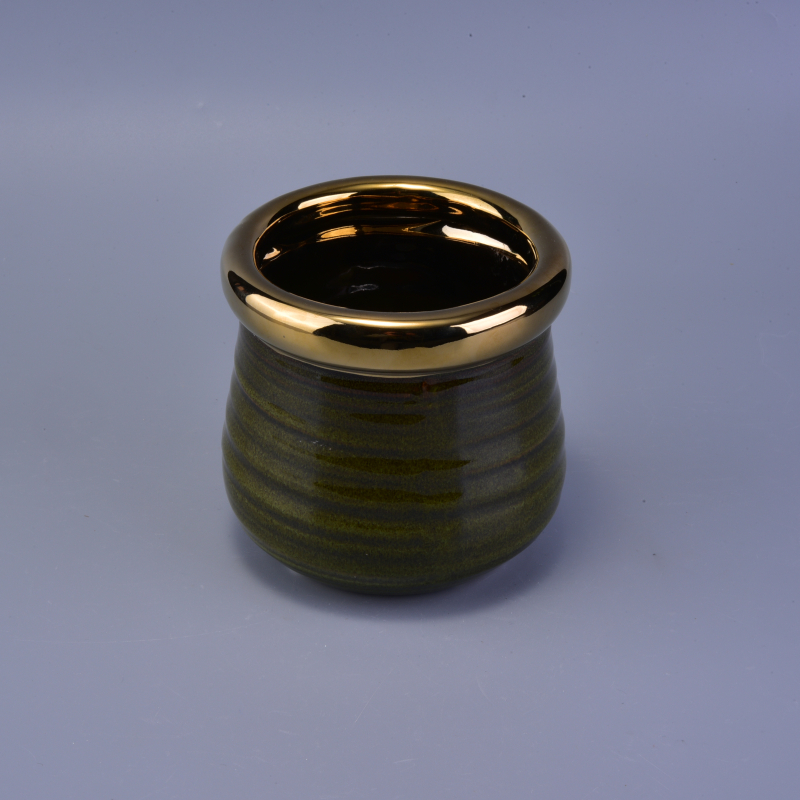 Eletroplated Golden Rim Cup for Ceramic Candle Holder with Fancy Glazed