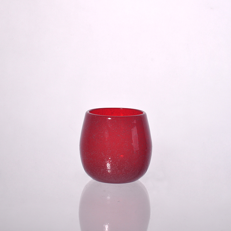 Red Color Material Handcrafted Glass Wax Candle Jar