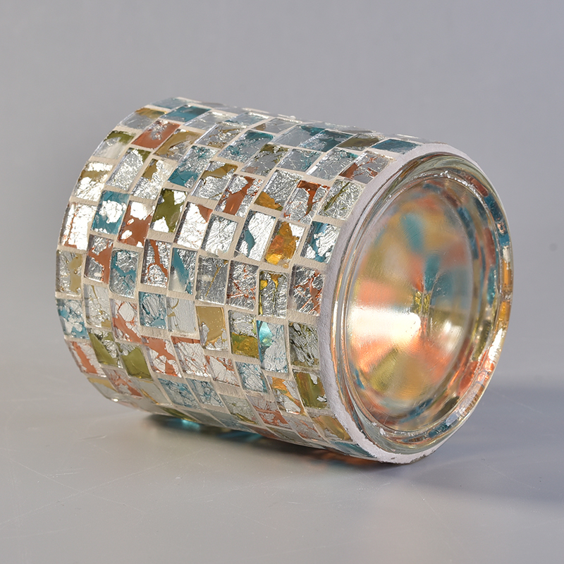 320ml Cylinder Glass Scented Candle Holders with Mosaic Decoration