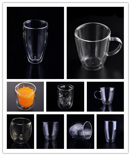 Food Grade Borosilicate Double Wall Glass Cups For Coffee Tea Juice