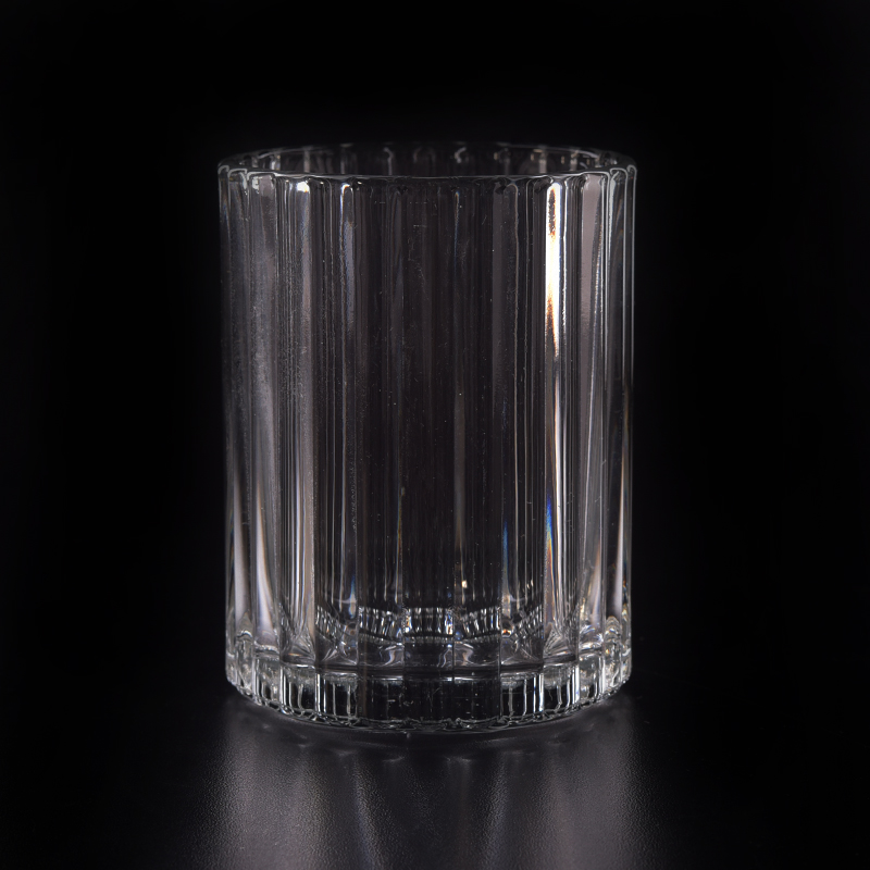 Wholesale Popular Stripe Pattern Glass Candle Jars