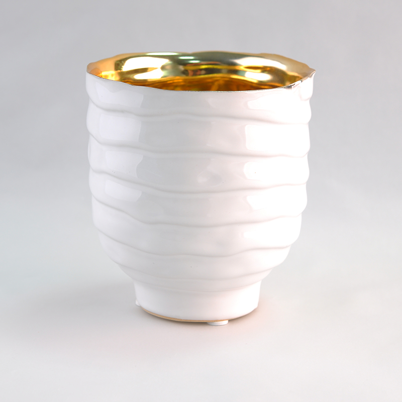 20oz white ceramic candle jars with golden electroplating inside from Sunny Glassware