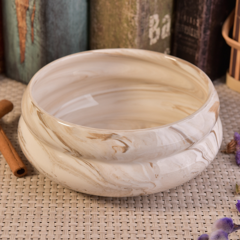 Custom color marble ceramic candle bowls