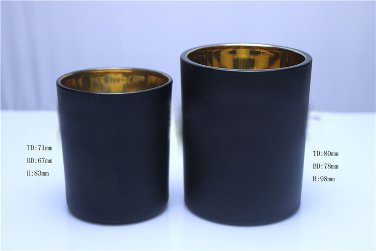 black glass candle holders