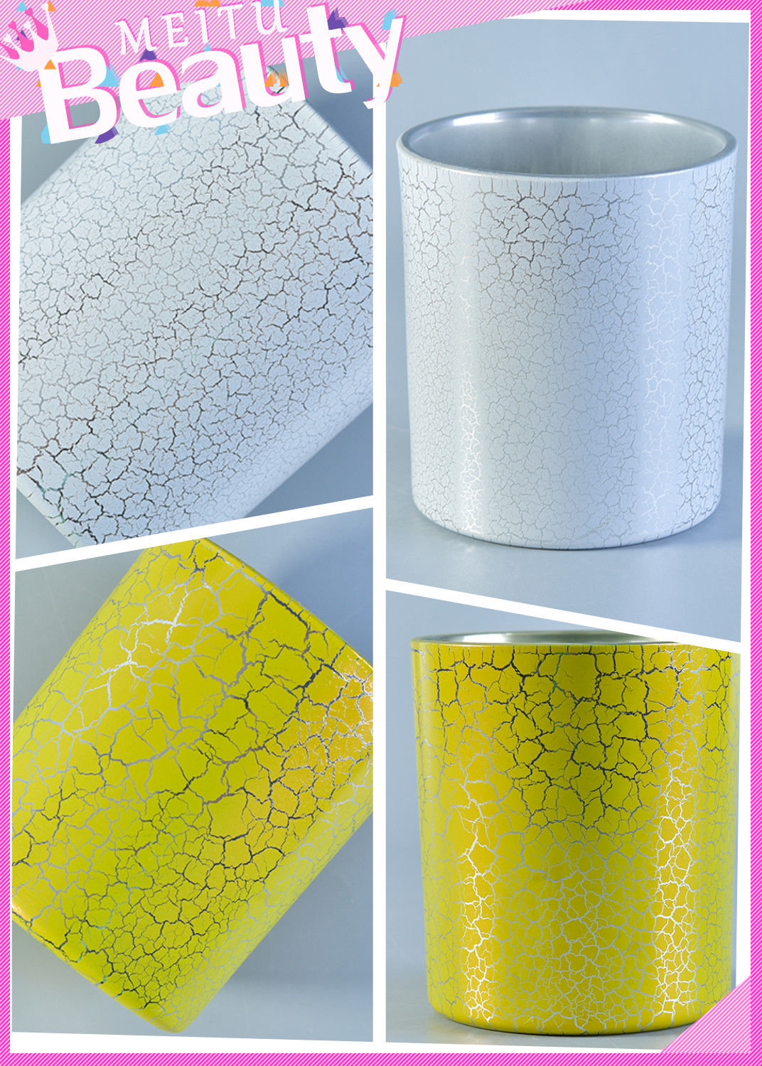 crack printing glass candle jar