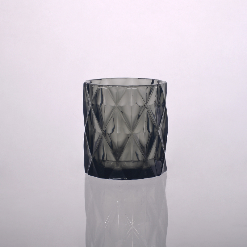 diamond solid color glass candle holder