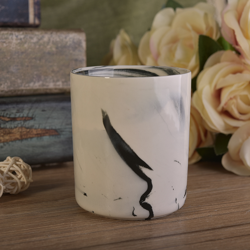 Round cylinder ceramic marble effect candle making jars