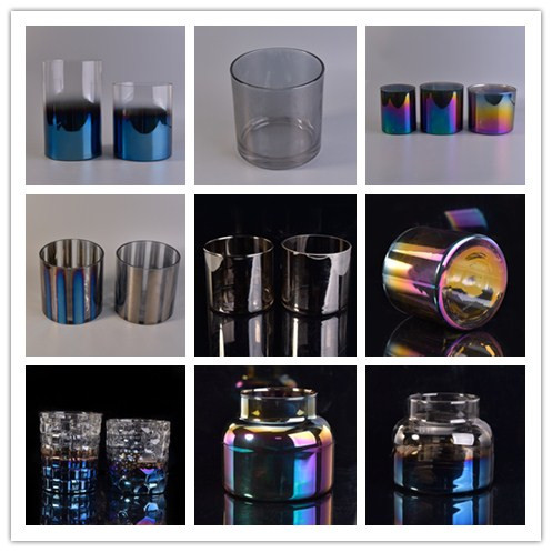 Custom holographic Effect Glass Candle Holders