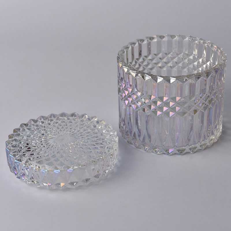 luxury glass candle holder with glass lid