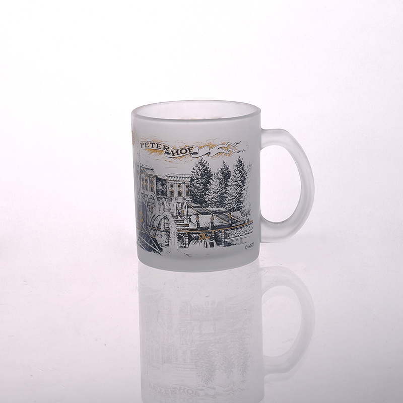 glass milk cup with picture