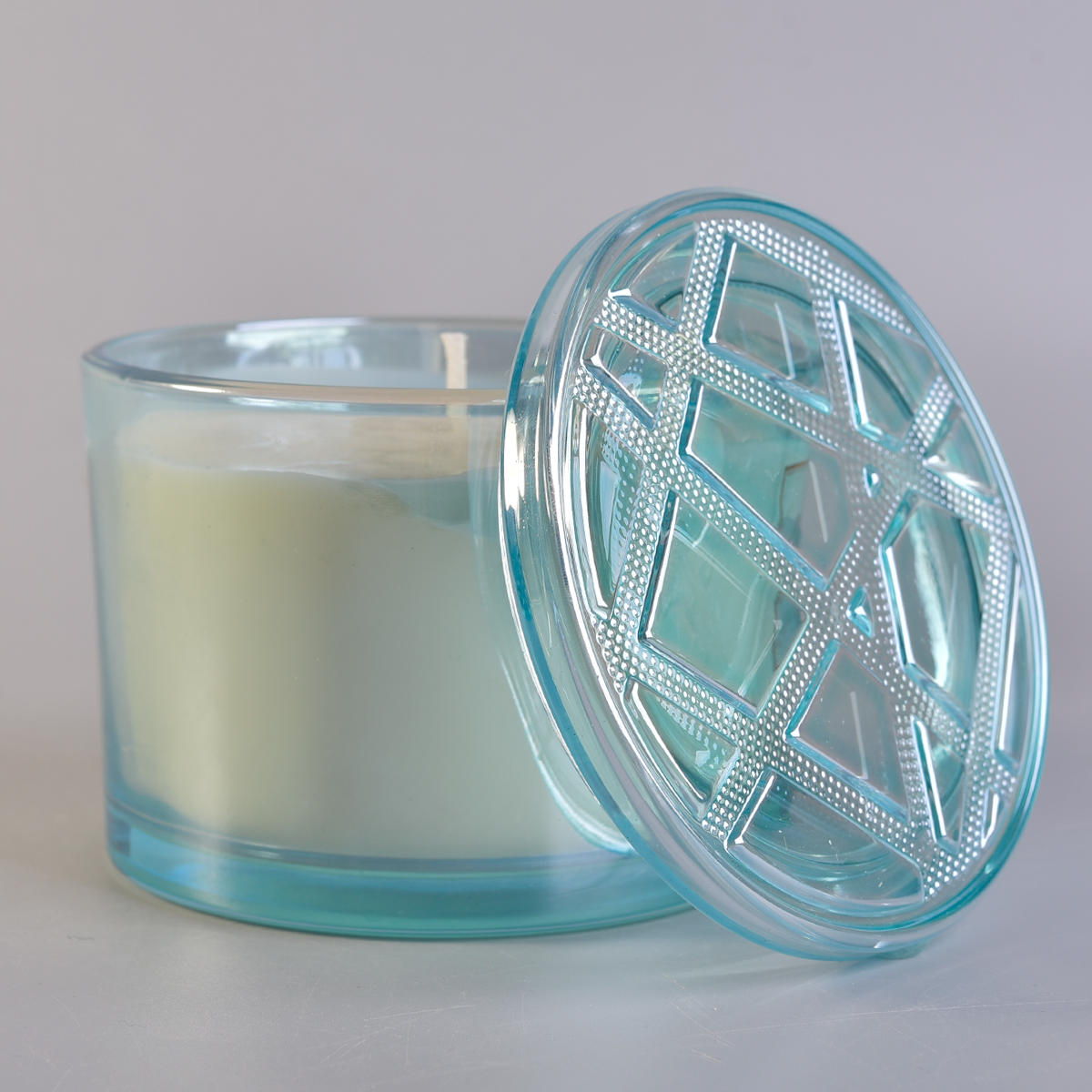 blue translucent large glass candle holder