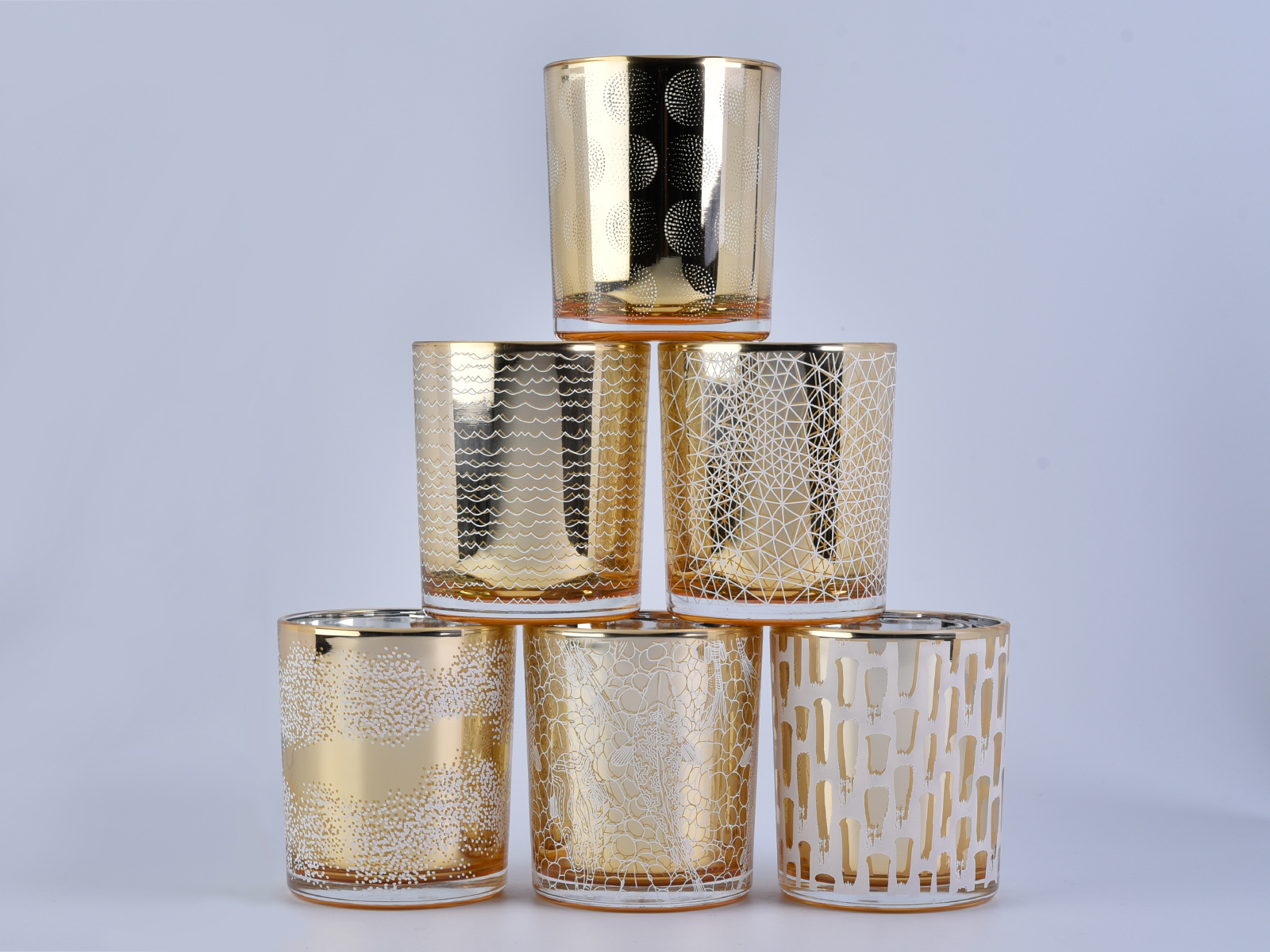 cylinder electroplated glass candle jar with screen prints