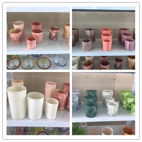 newly arrived various hydrographics transfer printing glass candle holder