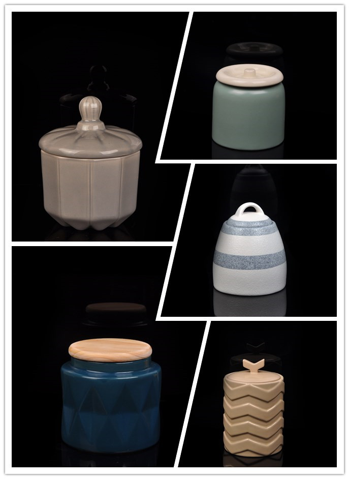 Hot popular ceramic candle jar with lids