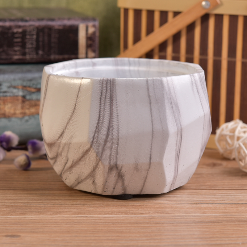 Beautiful marble effect cement candle making jars