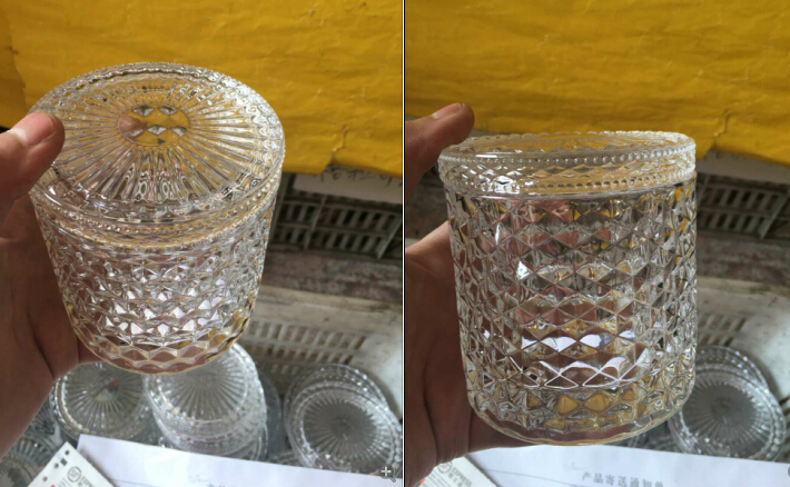 embossed woven pattern glass candle holders from Sunny Glassware