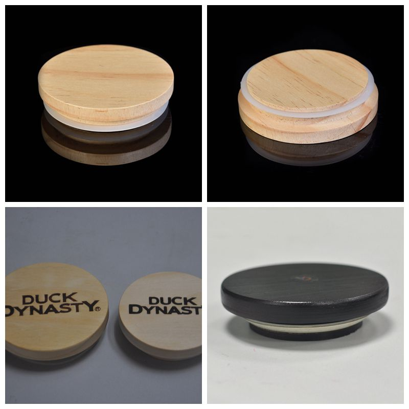 Wooden lids for candle vessels