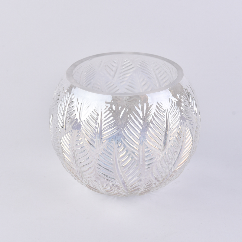 Iridescent white ball glass candle holder with leaves pattern
