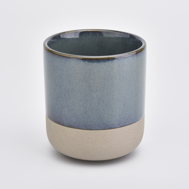Reactive glazed ceramic candle vessel