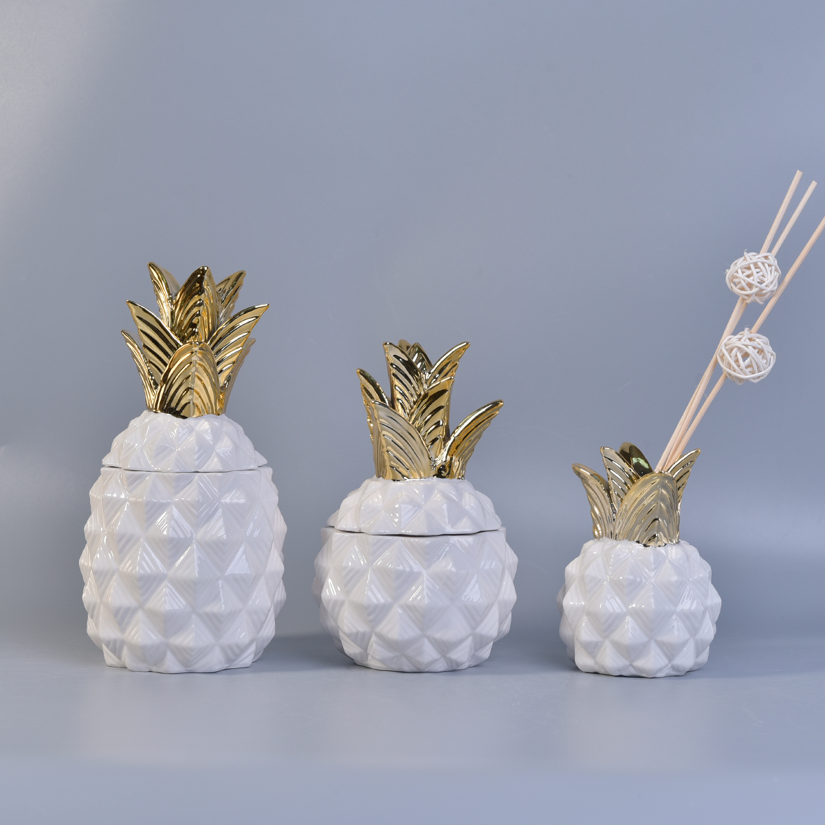 Pineapple ceramic candle vessel serious