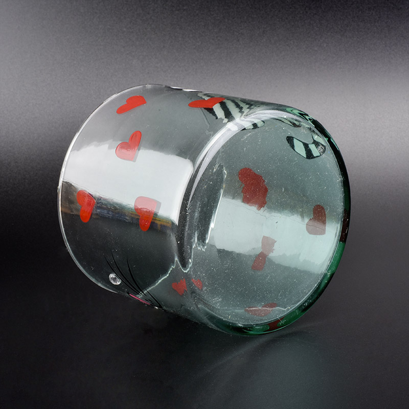 10cm diameter cylinder glass vessel with hand drawing cat pattern