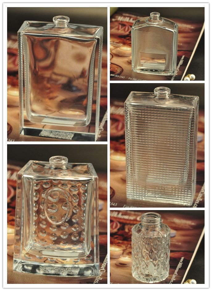 sqaure perfume bottles with emboss pattern