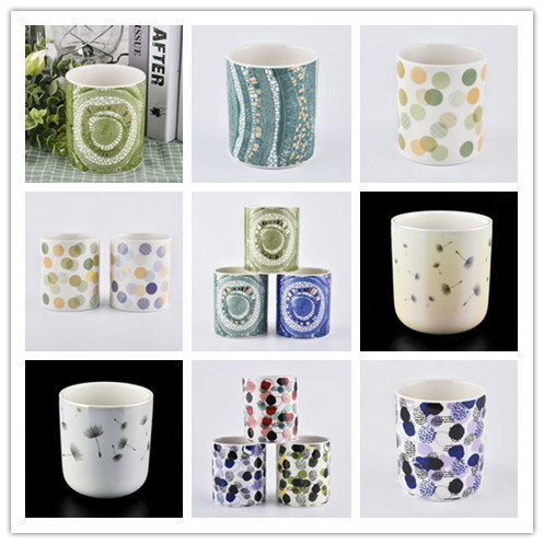 New Coming Ceramic Candle Jars With Decal Printing For Candle Making