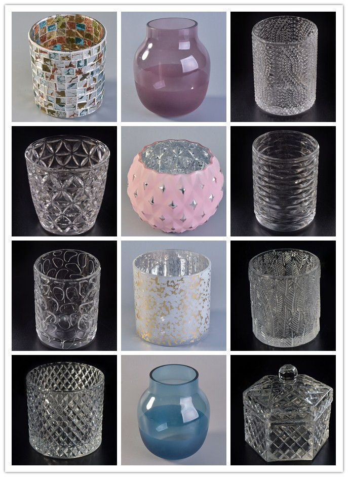 emboss pattern glass candle holders