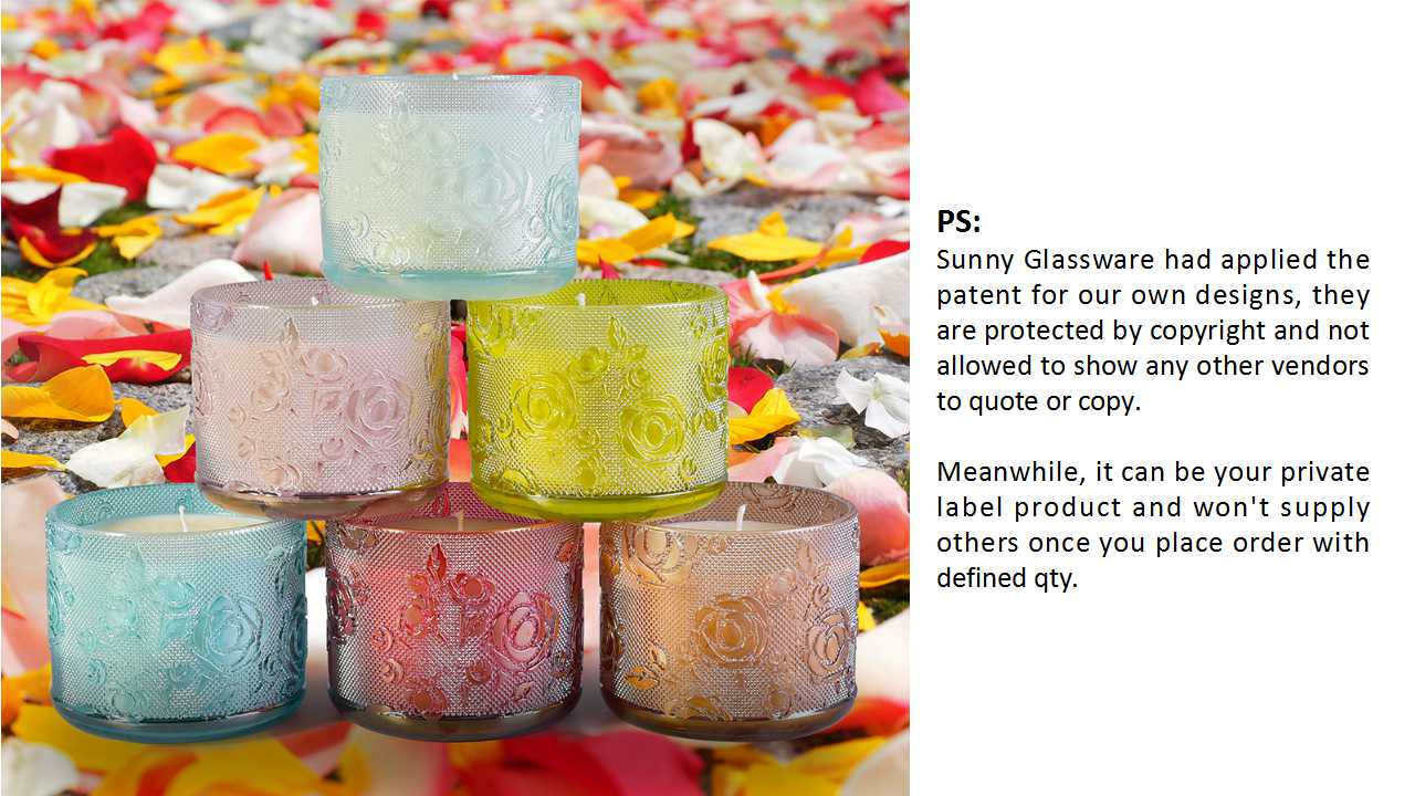 Luxury Patent Design Glass Candle Jar With Spray Color For Home Decoration