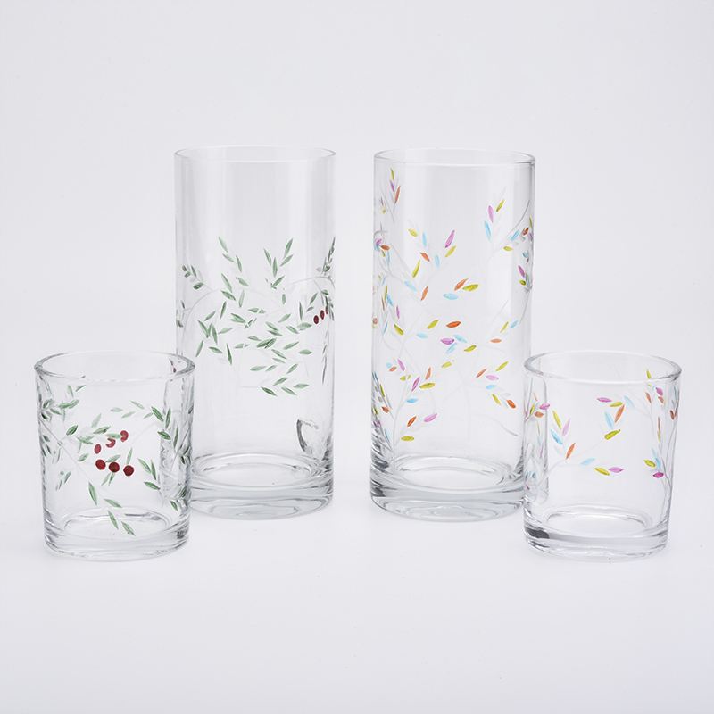 high glass cylinder candle holders with imprinted pattern from Sunny Glassware