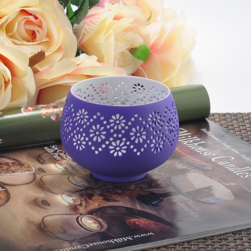 Hollow out ceramic candle vessel candle jars wholesale