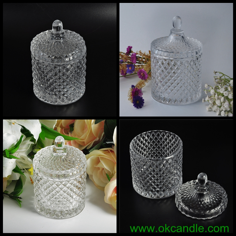 luxury diamond glass candle jar