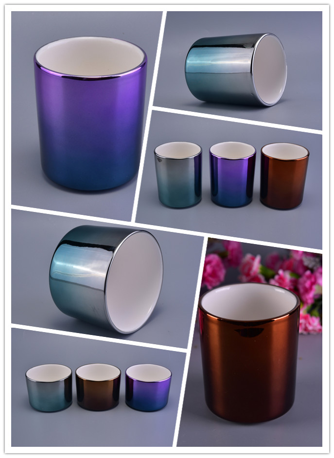 Luxury Gradient Color Ceramic Candle Holders For Decoration