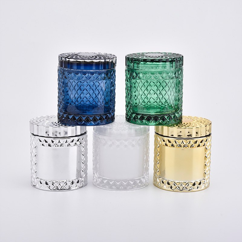 New arrival GEO glass candle jar with lids