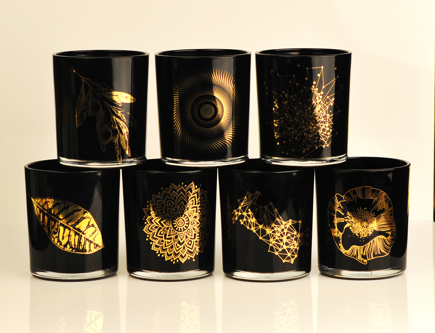 Glass candle jar with real gold decals