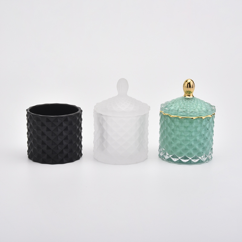 Geo cut design luxury glass candle jars