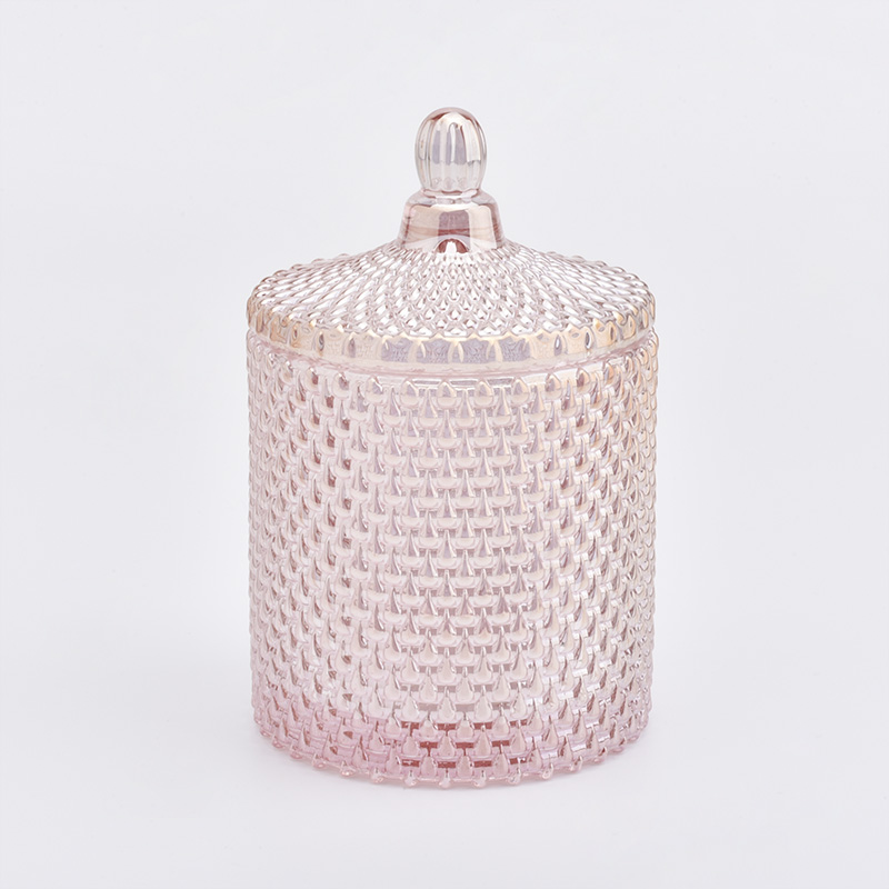 Popular GEO Cut Glass Candle Jar With Lid