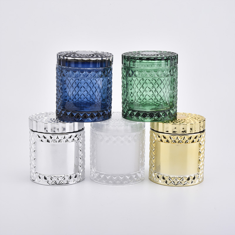 Glass candle holder with lid can be accept different color and decoration