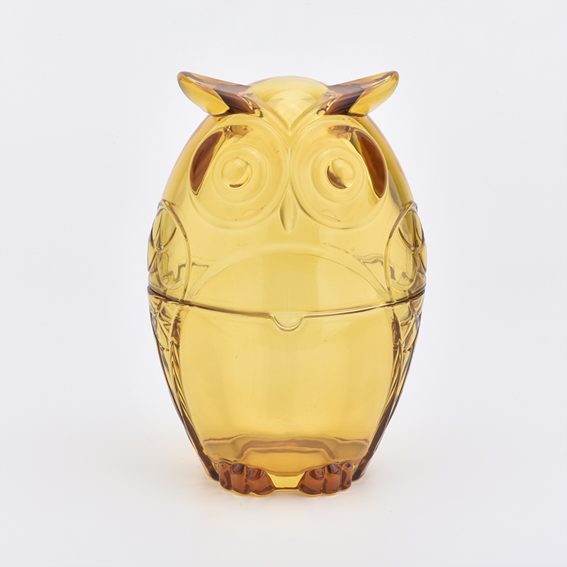 owl shape 500ml glass candle jars