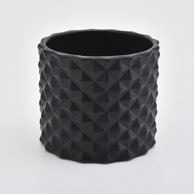 woven pattern black candle jars