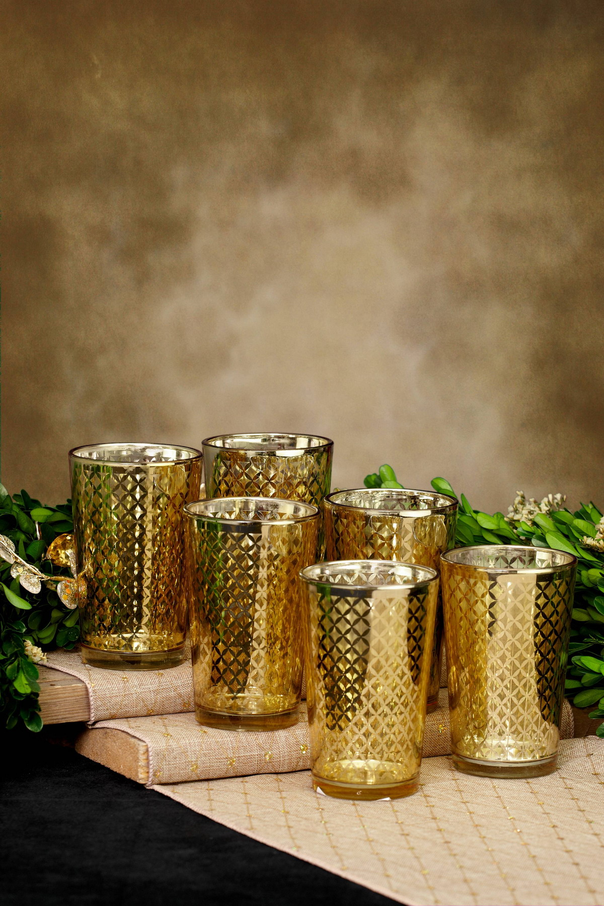 votive holder gold lattice finish for candles