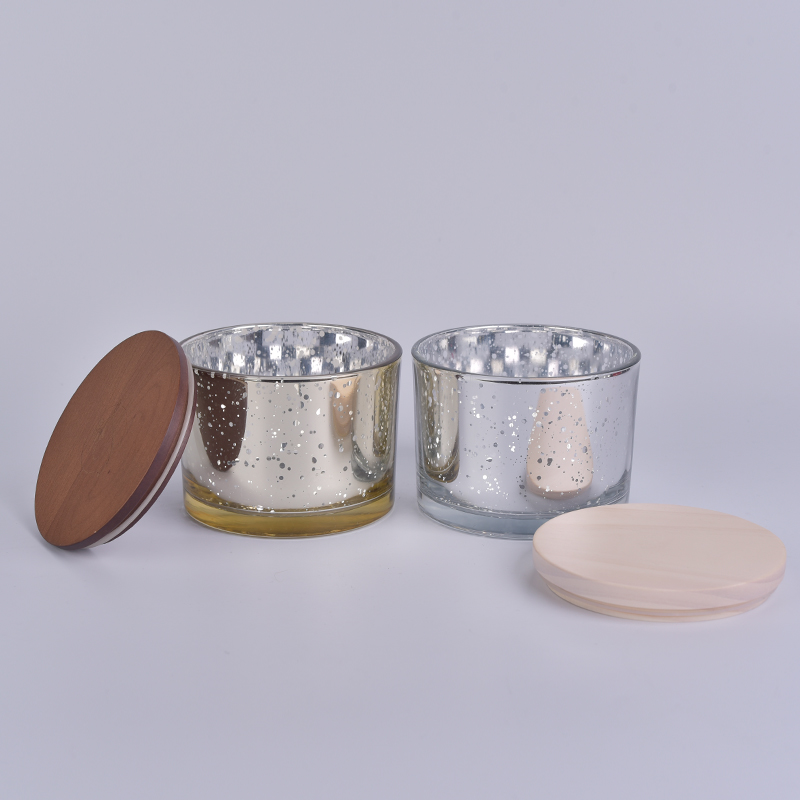 Stock cheap 12oz mercury glass candle jars with wood lid