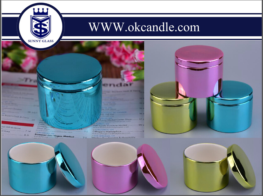 Fancy Decorative Mini Ceramic Candlle Vessel with Lid