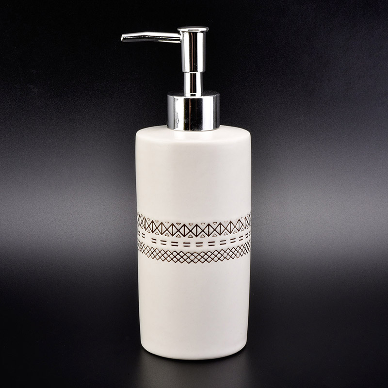 Luxury high quality ceramic Soap Dispenser with Chrome Pump